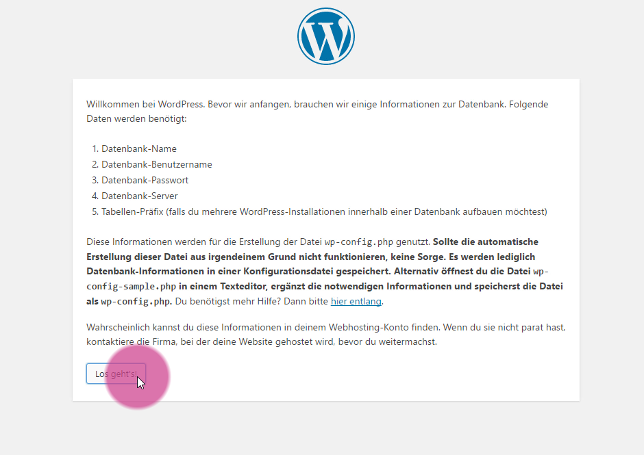 WordPress installieren - Start